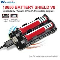 Doppio 18650 Batteria Al Litio Scudo V8 5V/3A 3V/1A Accumulatori E Caricabatterie Di Riserva di Carica Della Batteria del Modulo Micro USB per Arduino ESP32 ESP8266 WIFI