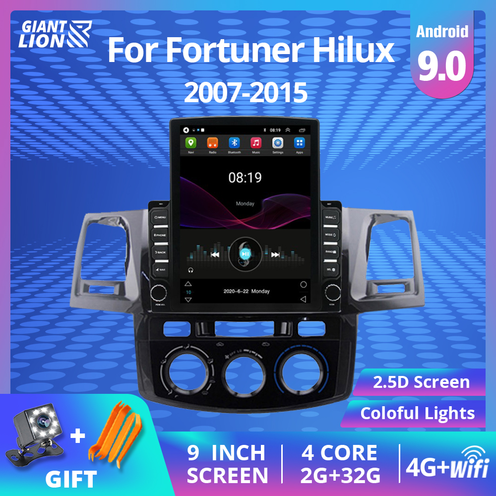 2din android 9.0 player de rádio do carro para toyota fortuner hilux 2007 2008 2012 2014 2015 multimídia vídeo touch-screen bluetooth dvd