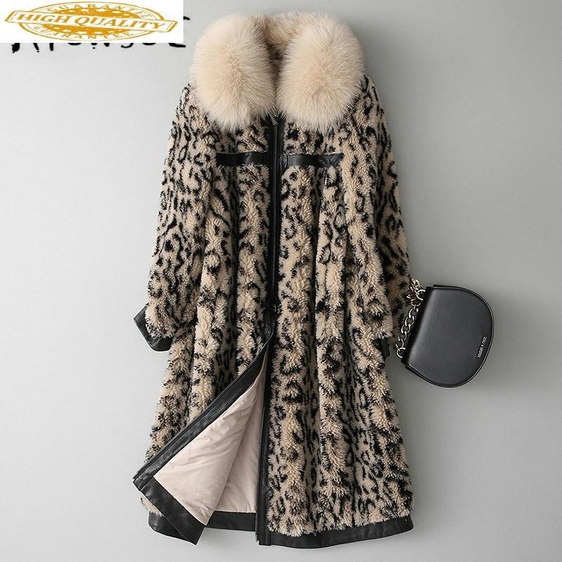 2020 New Real Fur Coat Sheep Shearling Winter Coat Women Fox Fur Collar Real Fur Jacket Cotton Liner Warm Coat KQN18134 YY1557