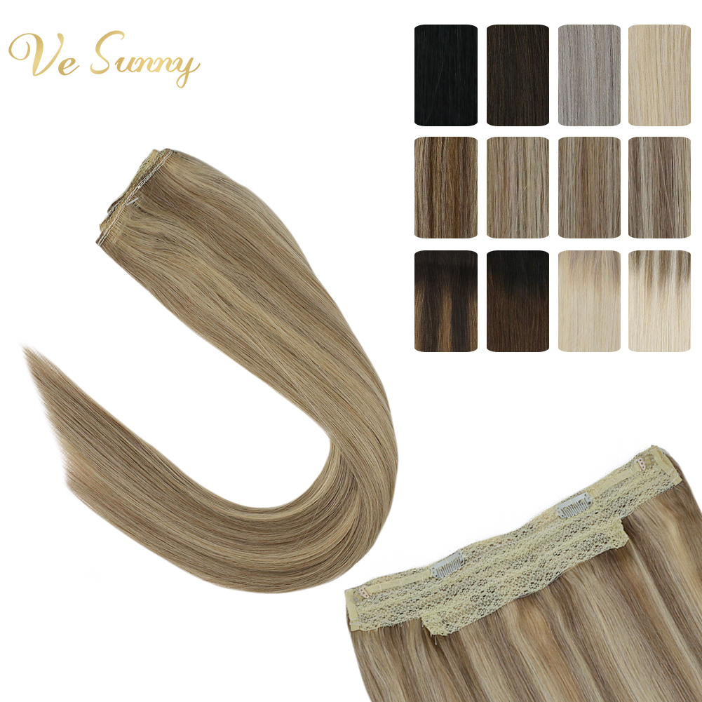 VeSunny Invisible Wire Halo Hair Extensions Human Hair Flip In Fish Line With 2 Clips On Solid Balayage Ombre Highlights Color