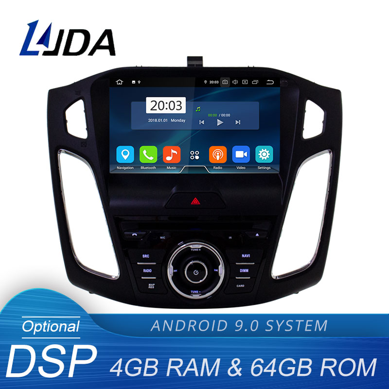 LJDA Android 9.0 Car DVD Player For <font><b>Ford</b></font> <font><b>Focus</b></font> 2015 2016 <font><b>2017</b></font> 2018 Multimedia GPS <font><b>Navigation</b></font> Stereo 1 Din Car Radio DSP 4G+64G image