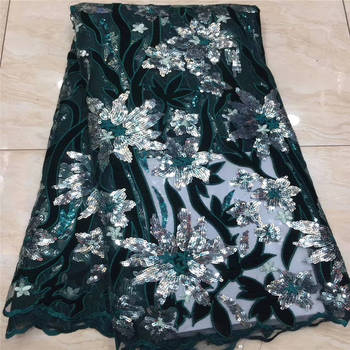 Latest fashion green sequence African french net glitters pearls high quality embroidered beaded sequins mesh tulle lace fabric