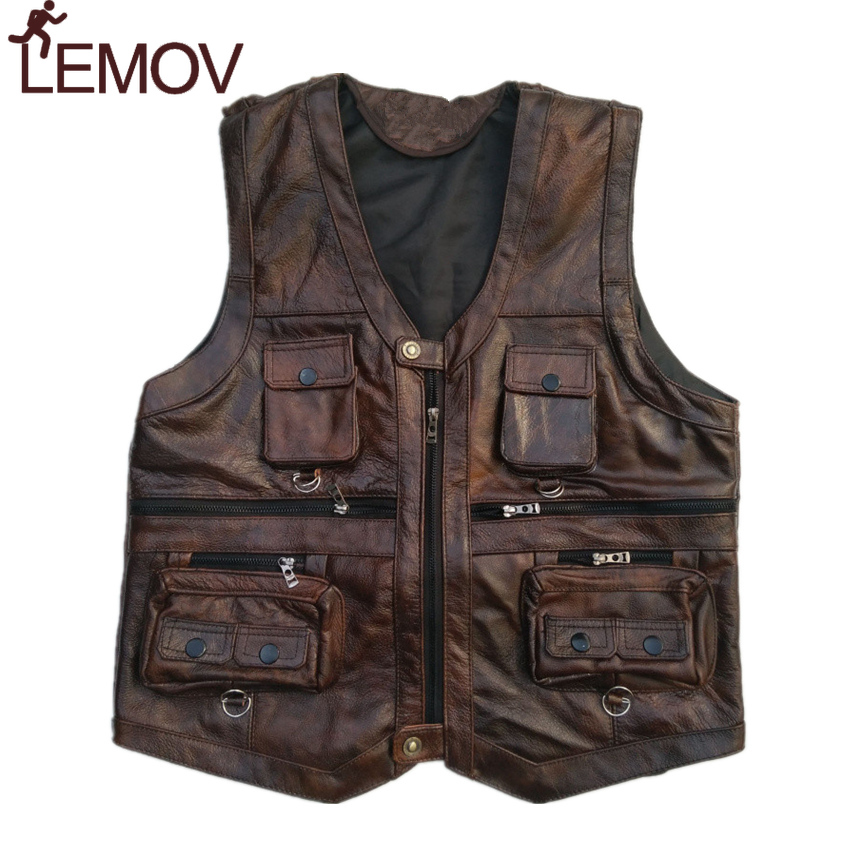 LEMOV Brown Vest Mens Leather Waistcoat Real Leather Motorcycle Vest With Many Pockets Photography Vest Sleeveless Jacket