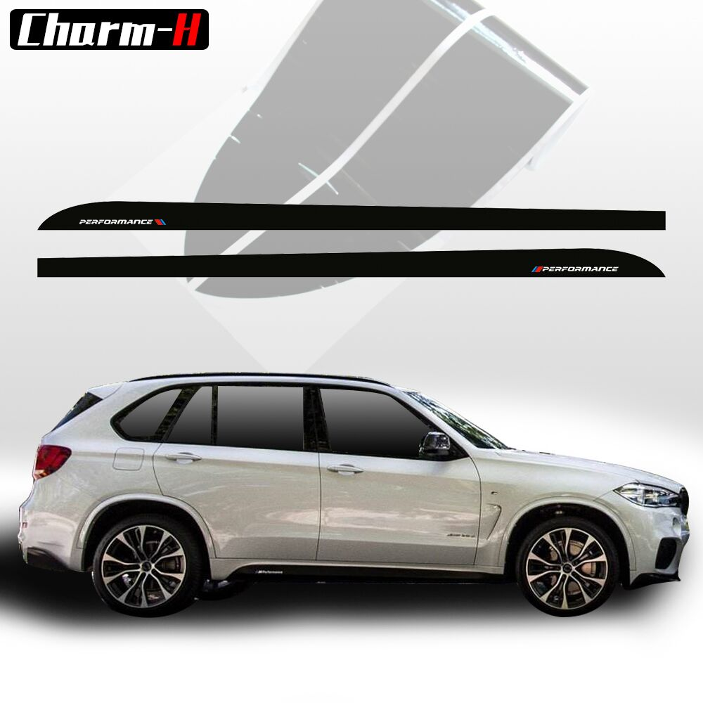 2pieces Side Skirt Sill Decals Stickers For BMW X5 F15 F85 2014-2018 Racing Stripe M Performance Sticker 5D Carbon Fibre