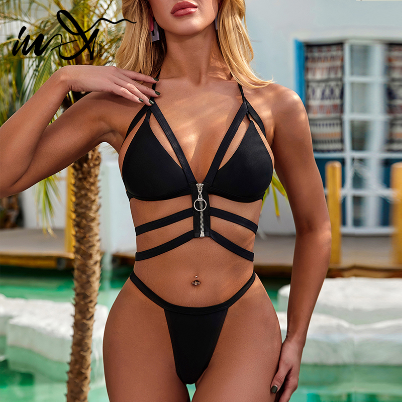 In-X Sexy Bandage Swimsuit Female Zipper Bikini Set Push Up Swimwear Women 2020 Halter Neck Bathing Suit Biquinis Swimming Suit