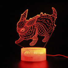 Pokemon Touch 3D Table Lamp Remote Control Sleep Light Bedroom Decoration Nightlight Projection Lamp Kids Gifts цена и фото