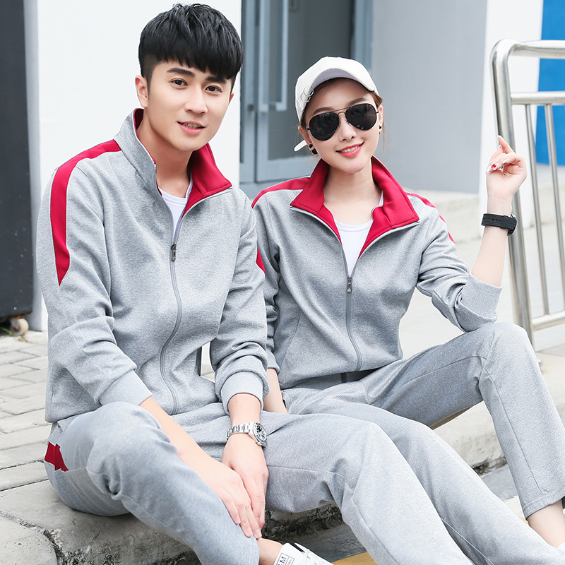 Spring And Autumn Couples Sports Clothing Set Long Sleeve Casual Sports Clothing Outdoor Men And Women Coat School Uniform