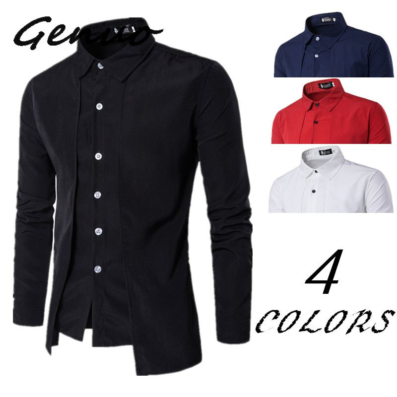 New Arrival Autumn Men Shirt 2019 Unique Design Fake Two Pieces Stylish Mens Dress Shirt Long Sleeve Casual Slim Fit Male Shirts