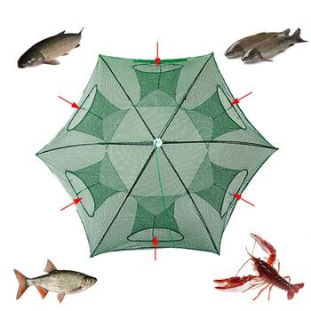 6 Hole Fishing Net Trap Cast Dip Cage Fish Minnow Crawdad Shrimp Foldable Fish Minnow Crawdad Shrimp Hexagon Mesh Bag