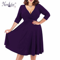 Nemidor Women Sexy V neck Short Sleeve 50s Party A line Dress Vintage Stretchy Midi Plus Size 7XL 8XL 9XL Cocktail Swing Dress