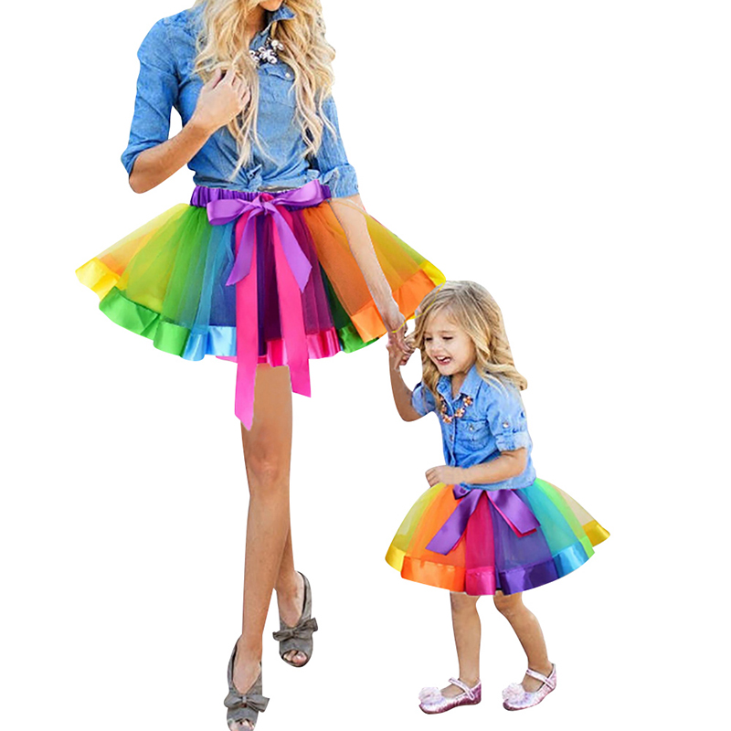 Mother And Daughter Rainbow Tutu Skirt Colorful Layered  Fluffy Ballet Dance Pettiskirt Princess Tulle Party Girl Clothes D25