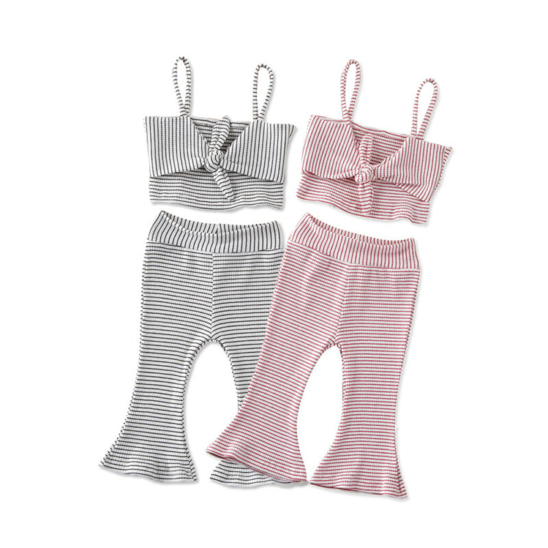 1-6Y Kids Baby Girl Clothes Sets Bowknot Striped Sleeveless Sling Vest Tops Pants Outfit Summer