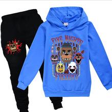 Zestawy ubrań dla dzieci 2 szt Chłopcy dziewczęta zestaw dziecięcy Cartoon nadruk zwierzęta ubrania sportowe garnitur FNAF znosić bluzy + długie spodnie tanie tanio DDAYXXUAN Na co dzień CN (pochodzenie) Z kapturem Swetry 110-160 COTTON Dziewczyny Pełna REGULAR Pasuje prawda na wymiar weź swój normalny rozmiar