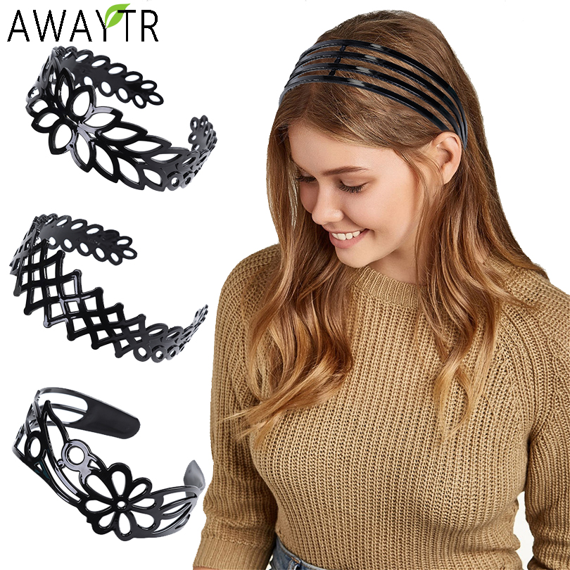 AWAYTR Plastic Bezel Hair Head Hoop Wide Women Hairband Fashion Headband Flowers New Non-slipped Headdress Hair Accessories