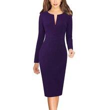 Vfemage женское облегающее платье с v-образным вырезом на молнии спереди, длинным рукавом, одежда для работы, деловые, офисные, вечерние, с принтом, облегающее платье-карандаш 671
