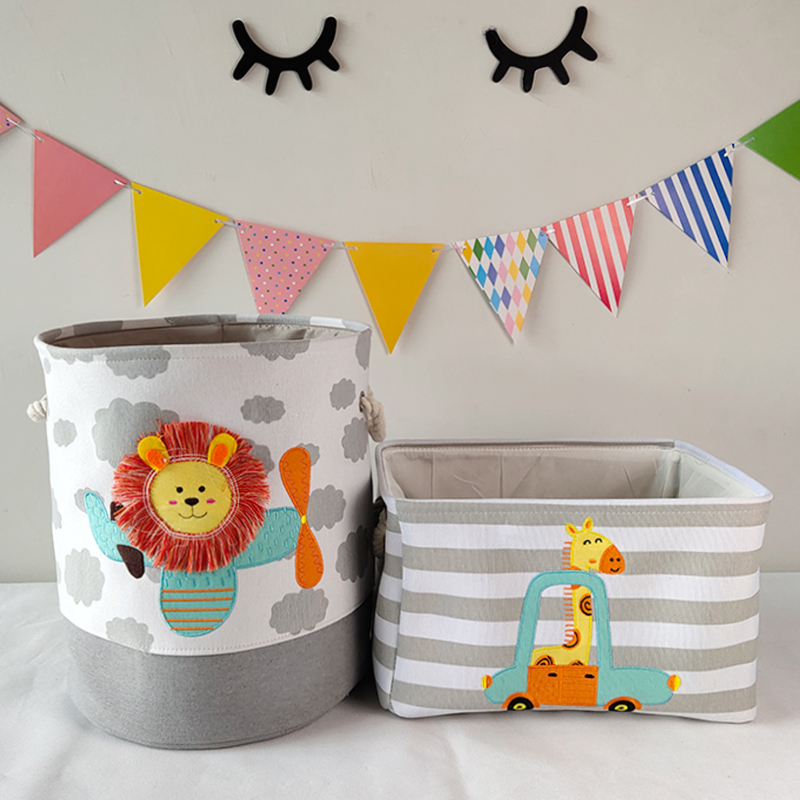 Baby Laundry Basket Cute Dinosaur  Foldable Toy Storage Bucket Picnic Dirty Clothes Basket Box Canvas Organizer Cartoon Animal 3
