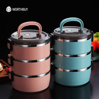 WORTHBUY Japanese Thermal Lunch Box For Kids Stainless Steel Food Container Leakproof Bento Box Children School Food Box|Lunch Boxes| |  -