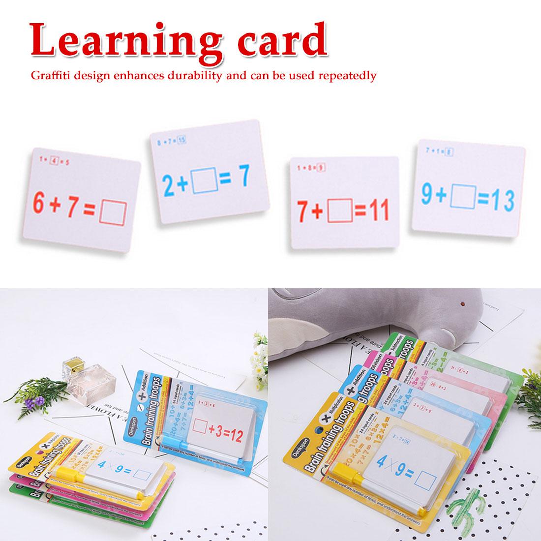 Kids Mathematics Kindergarten Teaching Erasable Card With Pen Reusable Preschool Learning Tools Educational Toys Gifts