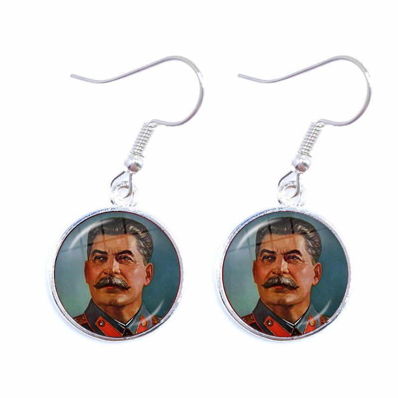 Sowjet UDSSR Stalin Lenin Drop Ohrringe Klassische Rote Stern Hammer Sichel Kommunismus Emblem CCCP Glas Cabochon Ohr Schmuck Für Frauen
