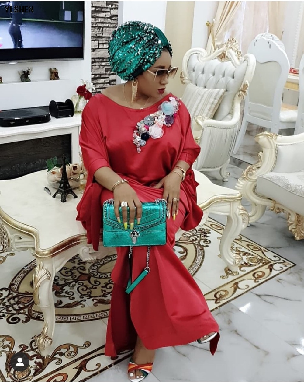 2019 African Dresses for Women Plus Size Boubou Africain Dashik Bow African Clothes New Flowers Robe Africa Dress Outfit Woman 05