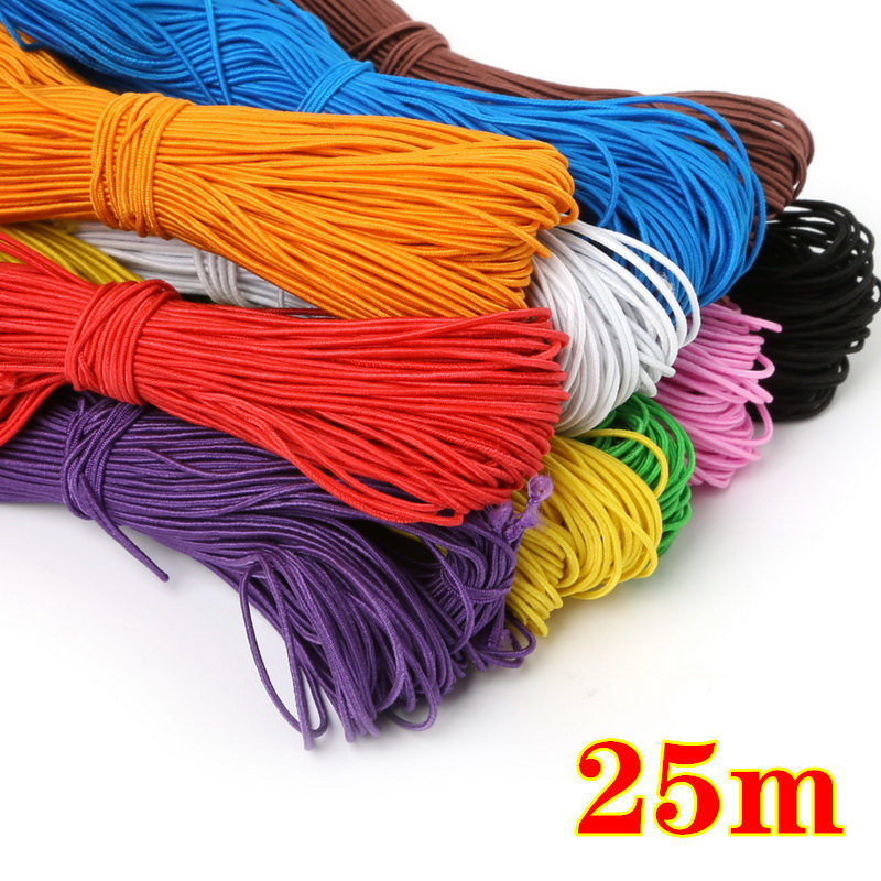 25 Meters High Elastic Band Rope Multicolor Round Elastic Rubber Bands for DIY Knitting Sewing Jewelry Accessories Craft Supply