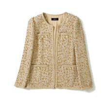 Handmade Luxury Jacket for Women Fashion Causel O Neck Covered Button Tweed Yarn