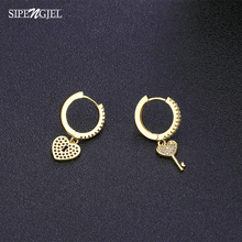 Fashion Cubic Zircon Lock Key Asymmetrical Earrings Cute Heart Gold Hoop Earrings For Women Wedding Korean Jewelry 2020