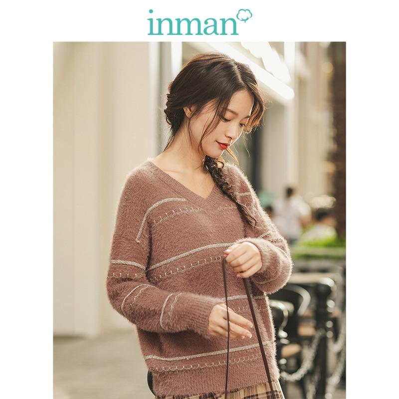 INMAN 2019 Winter New Arrival Literary V-neck Striped Split Drop-shoulder Sleeve Warm Women Pullover