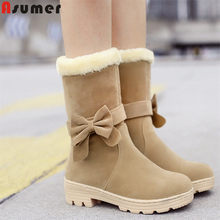 ASUMER wholesale 2020 New arrival snow boots women bowtie thick fur warm winter boots ladies mid calf boots cotton shoes female(China)