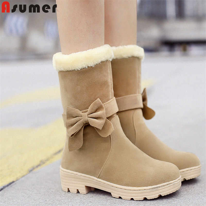 Asumer Sỉ 2020 Hàng Mới Về Ủng Nữ Bowtie Lông Dày Dặn Ấm Áp Mùa Đông Giày Nữ Giữa Bắp Chân Giày Vải Cotton nữ