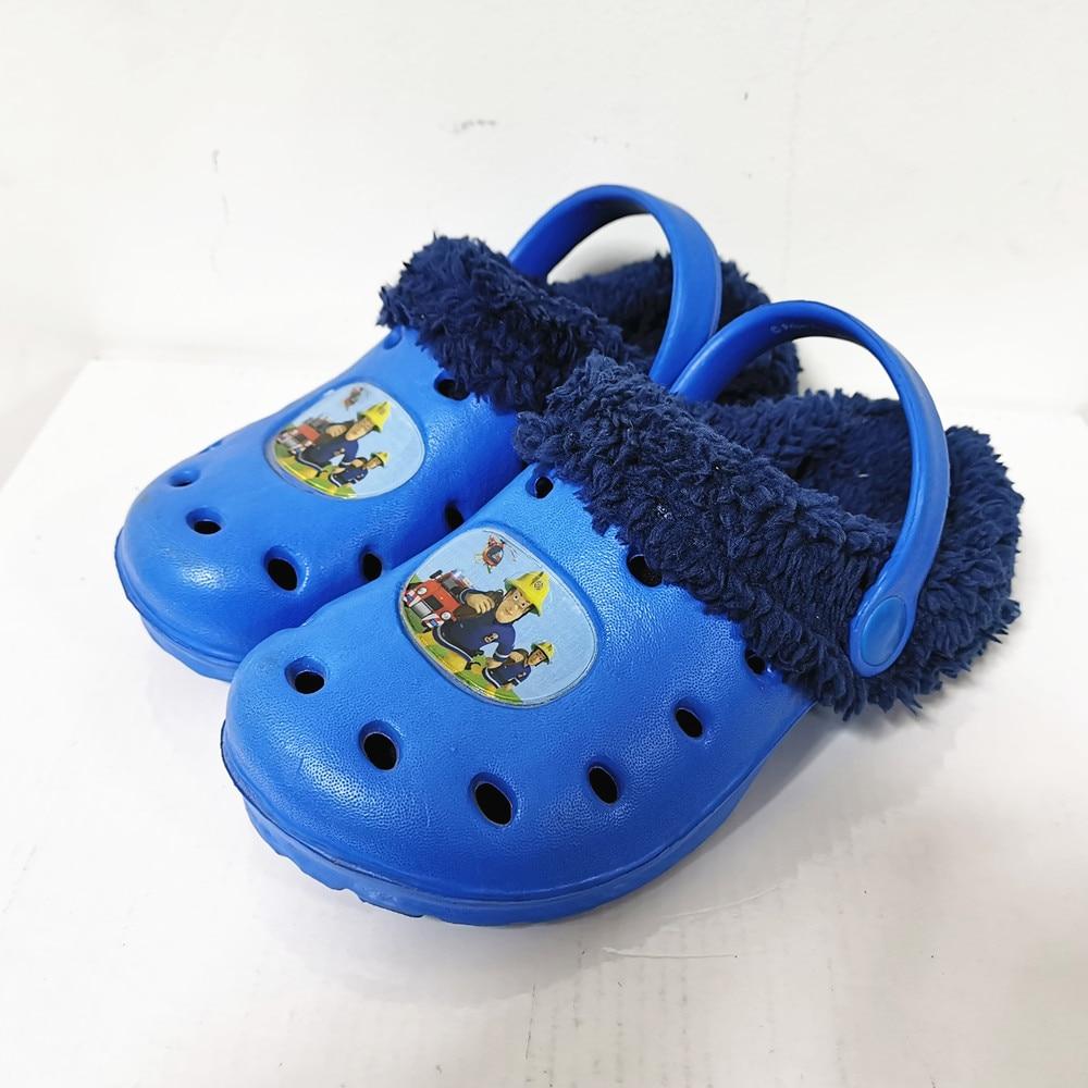 Ltolo Children Kids Boys Mules Warm Clogs Winter Crock Cartoon Sandals Garden  Slippers  Cave Hole Baby Shoes For Boy EUR24-35