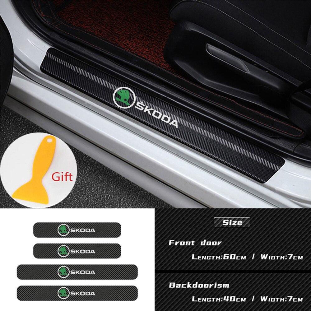 Новые 4 шт. углеродного волокна на автомобильное стекло, дверная табличка порогов педаль наклейка на порог для Skoda Octavia Kodiaq превосходное быст...