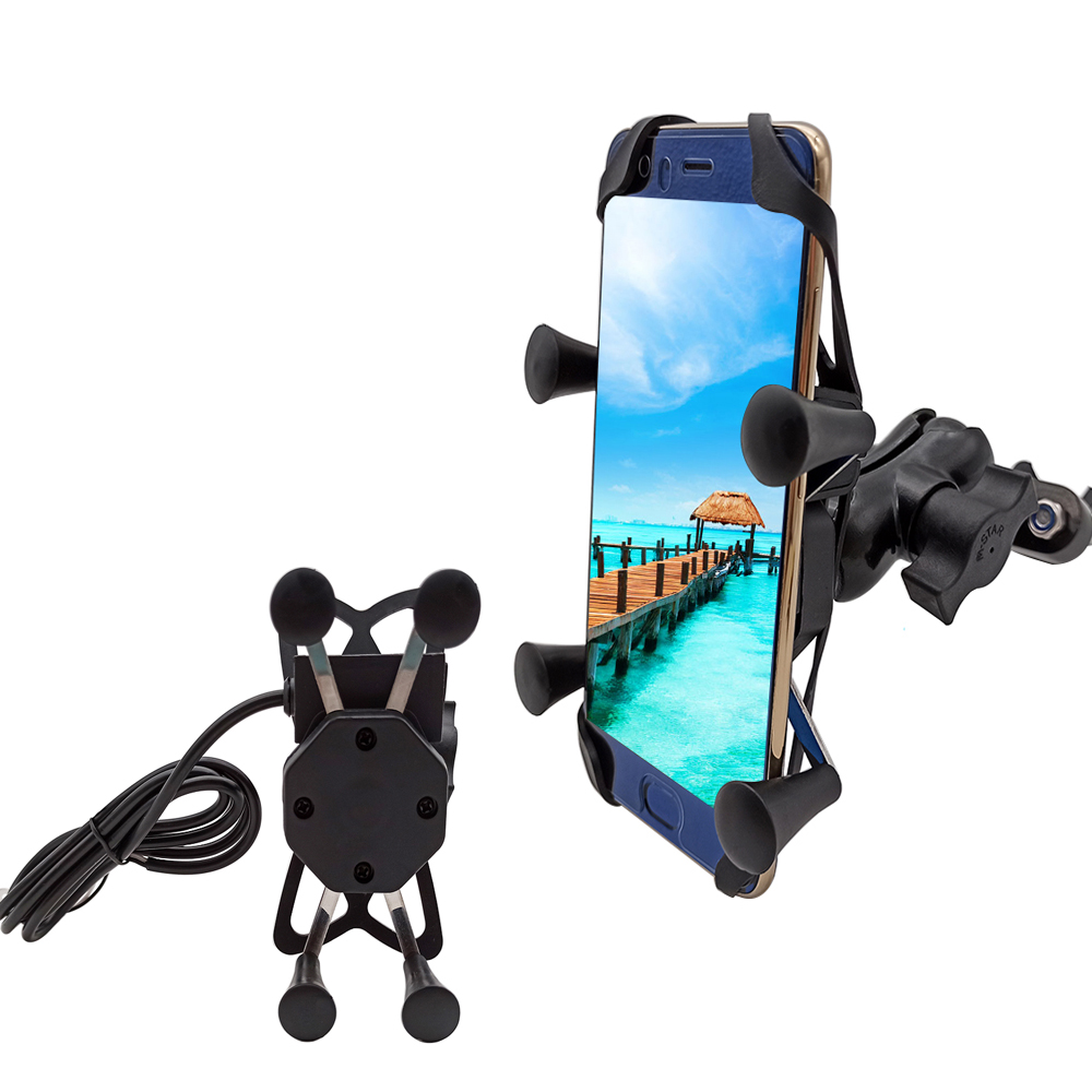 For Honda Cb 190r 400 1000r Cbf 1000 600 600f Cbr 600 F Motorcycle Mobile Phone Stand Holder With USB Charger 360 Rotatable