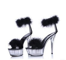 Sandals Wedges women Platform model T Stage Shows Summer Shoes Sexy High-heeled 15cm shoes Feathers Bride Wedding Shoe big size sexy fashion models to shoot steel pipe shoes shoe stage shows black high heeled shoes bride wedding sandals