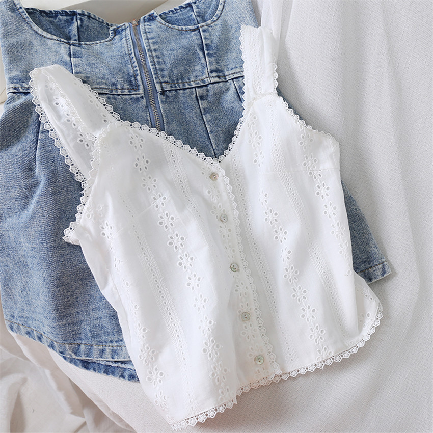 New Spring Big Size Women Cotton Vest Solid Lace Tank Summer Outfits Lady White Tanks Sweety Girl Crop Tops Bottomings WZ1167