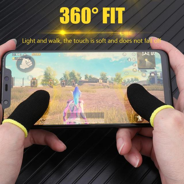 2pcs Finger Cover Breathable Game Controller Finger Sleeve For Pubg Sweat Proof Non-Scratch Touch Screen Gaming Thumb Gloves 2