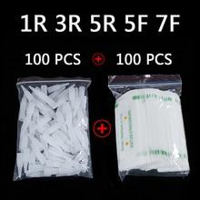 100 adet 1R 3R 5R 5F 7F PMU İğneler + iğne ipuçları tek kullanımlık steril profesyonel dövme İğneler kalıcı makyaj için kaş