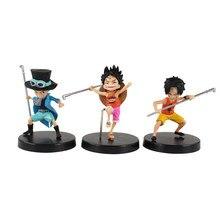 3 unids/set una pieza tres hermanos niño Luffy as Sabo Mini PVC figura de Anime juguetes 9-10cm