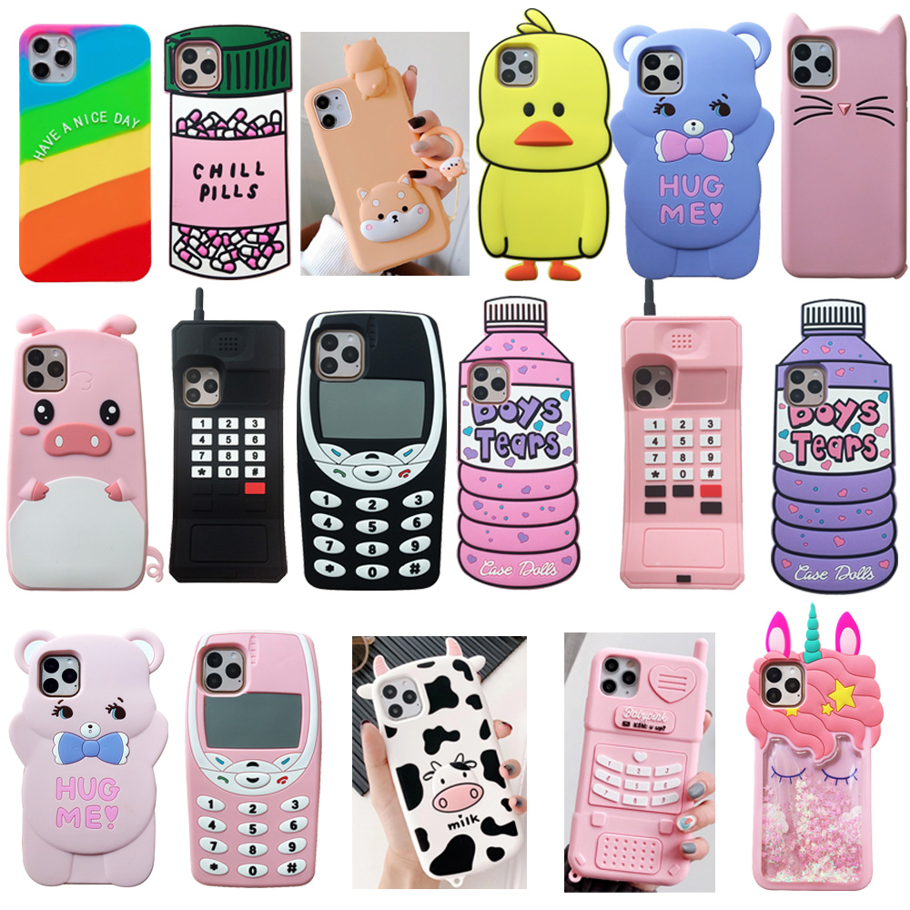 For iPhone 12 / 12 mini / 12 Pro / 12 Pro Max 3D Cute Cartoon Animal Soft Silicone Case Phone Back Cover Shell Skins Shockproof