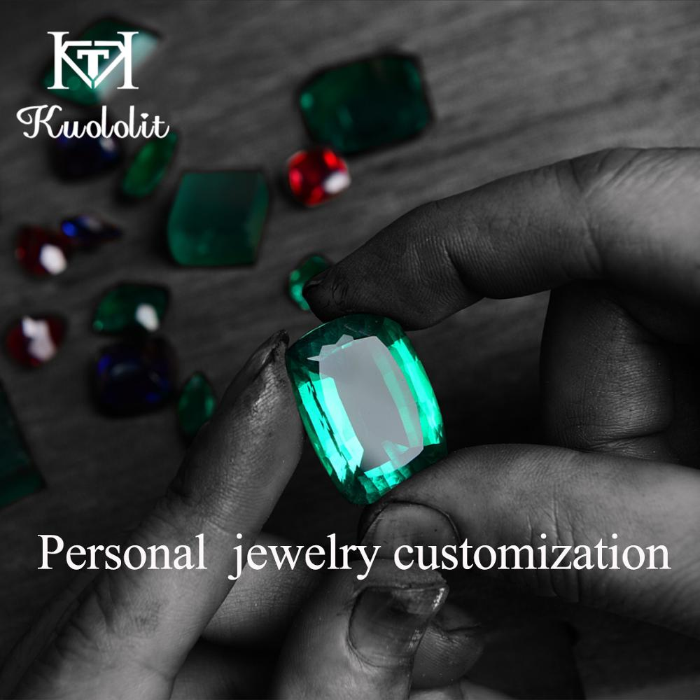 Kuololit Customize Moissanite Ruby Emerald Sapphire Solid Gold RING and earrings Fine Jewelry Engagement Rings for Women(China)