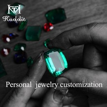 Engagement Rings Moissanite Emerald Fine-Jewelry Sapphire Customize Women Kuololit And