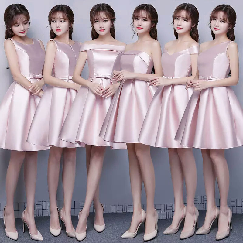 Pink Bridesmaid Dress Short Vestido Azul Marino Plus Size Long Prom Dress Sexy Taffeta For Wedding Party Champagne Short Frocks
