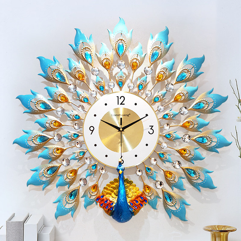 American Peacock Wall Clock Home Decor Large Wall Watch Metal Digital Clock Wall Living Room Bedroom Silent Fashion 3D Clocks