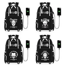 JoJo Adventure Backpack Knapsack Rucksack Travel School Bag Rucksack Book Bag USB Port Black Front Zipper for Men Teens Students