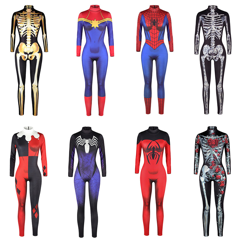 Game Cospaly Costume 3D Battle Royale Skull Trooper Cosplay Costume Zentai Bodysuit Fortniter Suit Jumpsuits Halloween Costumes