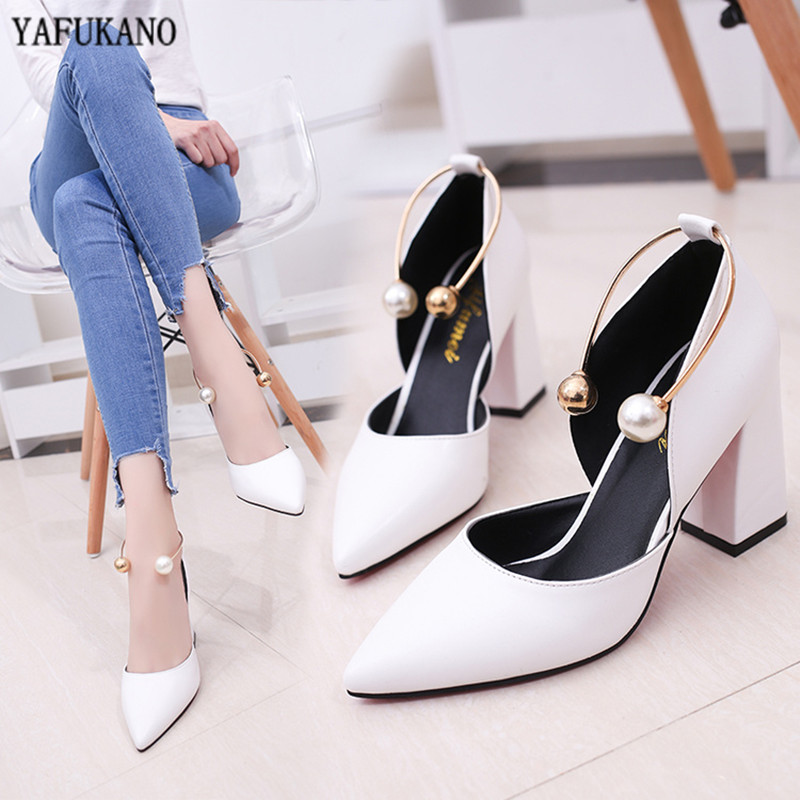 Women Pumps Elegant Pearl High Heels 2020 New White Thick With Single Shoes Middle Hollow Fashion Simple Woman Work Shoes