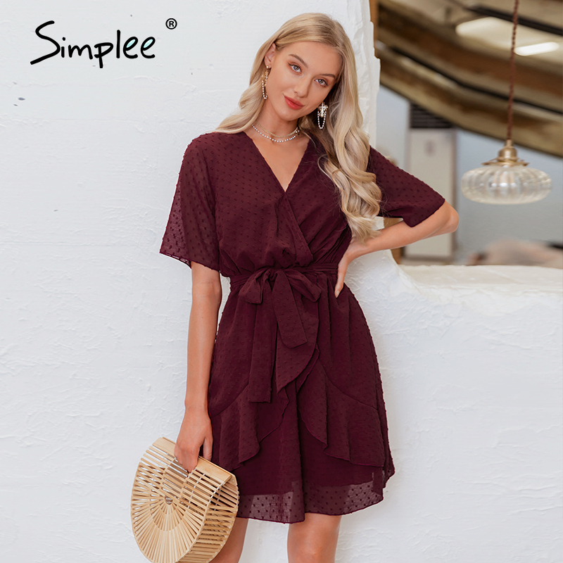 Simplee V-neck Flower A-line Summer Dress Women Ruffled Sash Belt Wrap Dress Short Sleeve Beach Lining Ladies Short Dress