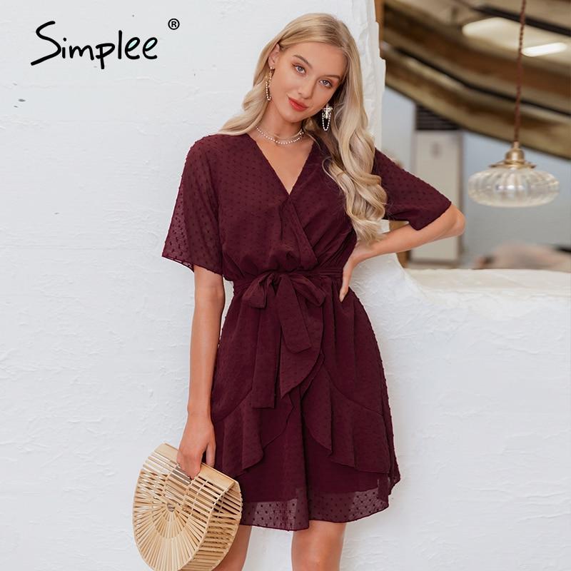 Simplee V-neck Flower A-line Summer Dress Women Ruffled Sash Belt Wrap Dress Short Sleeve Beach Lining Ladies Short Dress