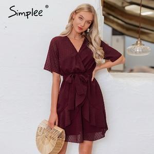 Image 1 - Simplee v yaka çiçek A line yaz elbisesi kadınlar Ruffled kuşak kemer wrap elbise kısa kollu plaj astar bayanlar kısa elbise