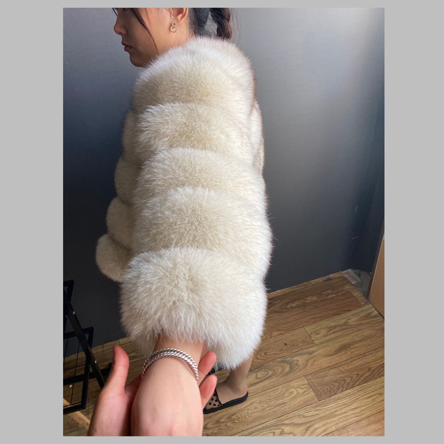 Fashion winter warm leather coat natural fox fur coat real fox fur jacket winter thick warm coat 4